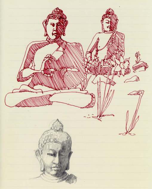 Buddha among the daffodils ink and pencil sketches